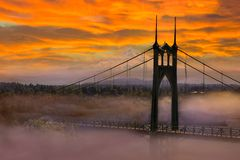 Mt Hood by St Johns Bridge during Sunrise early morning in Portland OR USA. Mount Hood by St Johns Bridge in Portland Oregon on a foggy early morning colorful royalty free stock photos
