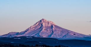 Mt Hood in the Sunset Alpenglow. Mt. Hood in the alpenglow of the fading light of sunset Stock Photo
