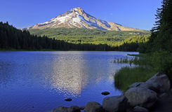 Mt Hood at Sunset from Mirror Lake. Dusk light falls on Mt Hood seen from Mirror Lake in Oregon stock photos