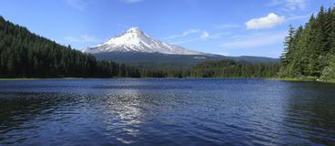 Mt. Hood & Trillium lake panorama, Oregon. Royalty Free Stock Images