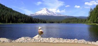 Mt. Hood & Trillium lake panorama, Oregon. Royalty Free Stock Photo