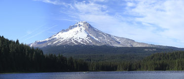 Mt. Hood & Trillium lake panorama, Oregon. Stock Photos