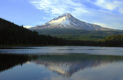 Mt Hood and Trillium lake at sunset. Royalty Free Stock Images