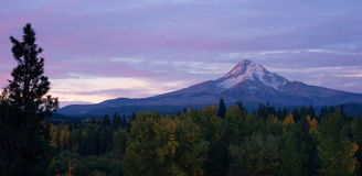 Mt. Hood Volcanic Mountain Cascade Range Oregon Territory. Sunrise comes to the east side of the Cascade Range stock image