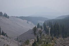 Mt. Hood wilderness under heavy smoke. Royalty Free Stock Photo