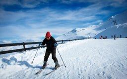Mt Hutt, известное поле в Новой Зеландии, азиатский учить лыжи Стоковые Фотографии RF