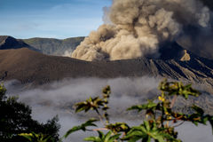 Mt Il vulcano di Bromo scoppia in Java, Indonesia Fotografia Stock