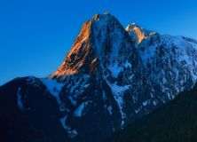 Mt. Index, Washington State. First light hits the top of Mt. Index in the central Cascades of Washington State Royalty Free Stock Photography