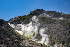 Mount Io-zan, naked mountain, Hokkaido, Japan royalty free stock images