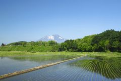 Mt.Iwate and pastoral landscape Stock Photos