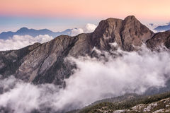Mt Jade east peak. Landscape of famous Mt Jade east peak in Taiwan in the sunset, Asia. Mt Jade is the highest mountain in Taiwan and belong Yushan National park Royalty Free Stock Photos