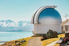 Mt. john observatory at New Zealand. Mount John`s Observatory at Mt John in autumn season near Tekapo lake Southern Alps mountain valleys New Zealand royalty free stock photo