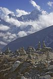 Mt. Kangtega and Mani Stones Royalty Free Stock Photos