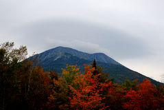 Mt Katahdin in Fall color. Mt Katahdin in Baxter State Park with Fall foliage Stock Images