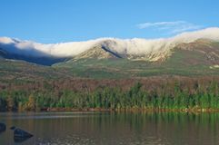Mt. Katahdin Knife Edge in Clouds. Knife edge of Mt. Katahdin, Baxter State Park, Maine, Sandy Stream Pond Stock Photo