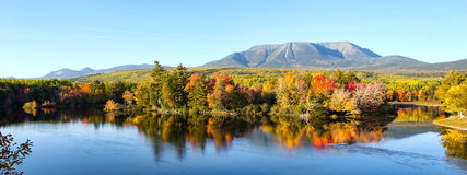Mt Katahdin Maine. Landscape photo of Mt Katahdin in Baxter State Park, Maine displaying fall colors and refelections Stock Images