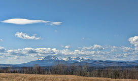 Mt Katahdin Maine. This view of Mt Katahdin was taken from the Scenic Byway Royalty Free Stock Photography