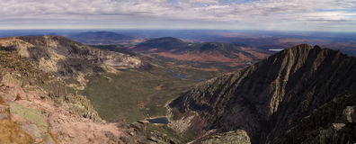 Mt Katahdin panorama. Looking down to chimney pond from mt katahdin baxter state park Maine fall autumn Stock Photos