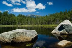Mt. Katahdin small pond. Small pond reflection and Mt. Katahdin in Baxter State Park of Maine Stock Photo