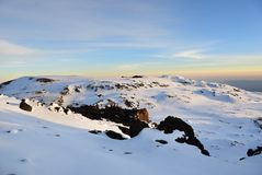 Mt Kilimanjaro, Tanzania. Sunrise from top of Kilimanjaro 5.895 m - highest mountain in Africa. Tanzania Royalty Free Stock Photos