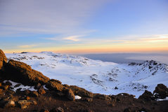 Mt Kilimanjaro, Tanzania. Sunrise from top of Kilimanjaro (5.895 m) - highest mountain in Africa. Tanzania Stock Image