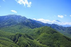 Mt. Kinpou and Mt. Fuji Royalty Free Stock Photos