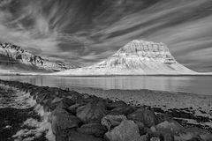 Mt Kirkjufell,红外线的冰岛 库存图片