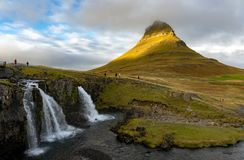 MT Kirkjufell, IJsland Royalty-vrije Stock Foto's