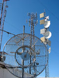 Mt. Konocti Telecommunication Site. With Radio, Wireless Phone Antennas, and T.V. Equipment Royalty Free Stock Images