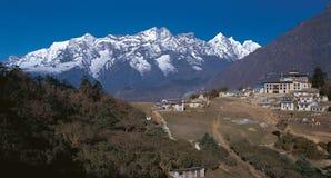 Mt. Kwondge & Tyangboche Monastry. As seen from Tyangboche, Everest Region, Solukhumbu, Nepal Stock Photos