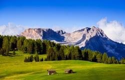Mt Langkofel al tramonto, Seiser Alm, dolomia, Italia Immagini Stock Libere da Diritti