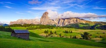 Mt Langkofel au coucher du soleil, Seiser Alm, dolomites, Italie Images libres de droits