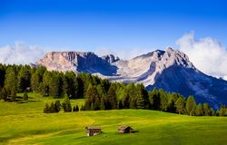Mt.Langkofel at sunset, Seiser Alm, Dolomites, Italy Royalty Free Stock Images