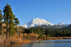 Mt. Lassen Above Manzanita Lake Stock Photos