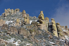 Mt. Lemmon Hoodoos Touched with Light Snow Stock Image