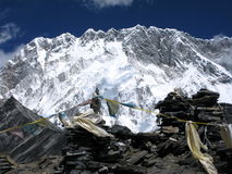 the colourful prayer flags under Mount Lhotse  Stock Photography
