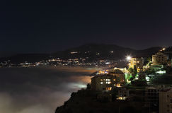 Mt Liban przy nocą z toczną mgłą Obraz Royalty Free