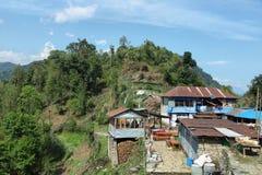 Mt Machapuchare视图在尼泊尔 免版税库存照片