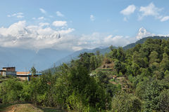 Mt Machapuchare, Mt Annapurna South and Hiunchuli views in Nepal Stock Photos