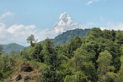 Mt Machapuchare view in Nepal Royalty Free Stock Photos