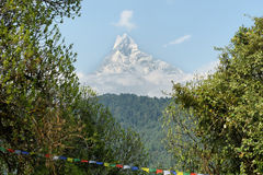 Mt Machapuchare view in Nepal Royalty Free Stock Photography