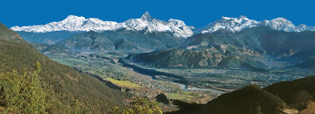 Mt. Machhapuchhre & Annapurna Range Panorama from Sarangkot Royalty Free Stock Images