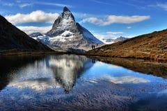 Mt Matterhorn reflected in Riffelsee Lake Zermatt Canton of Vala Stock Photography