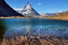 Mt Matterhorn reflected in Riffelsee Lake Zermatt Canton of Vala Royalty Free Stock Images