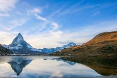 Mt Matterhorn reflected in Riffelsee Lake Zermatt Canton of Vala stock photo