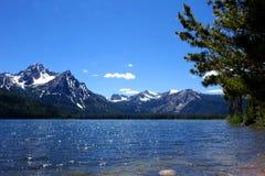 Mt McGowan och Stanley Lake - Idaho Arkivfoton