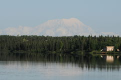 Mt. McKinley. Reflection on to a lake on a clear day from the Denali Paarks Highway Stock Photo