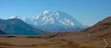 Mt McKinley and the Denali Park Road Stock Photo