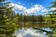 Mt. Mcloughlin reflecting in marsh waters. Mt. Mcloughlin under heavy white clouds reflecting in marsh waters at Four Mile Lake Stock Photo