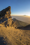 Mt Meru & Kilimanjaro at sunrise. Stock Image